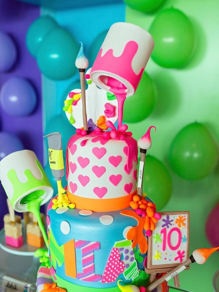 Art Themed Birthday Cake from a Neon Art Party on Kara's Party Ideas | KarasPartyIdeas.com (38)