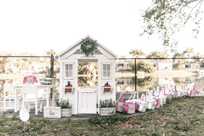 Garden Shed + Play Set from a Pastel Bunny Baptism Party on Kara's Party Ideas | KarasPartyIdeas.com (44)