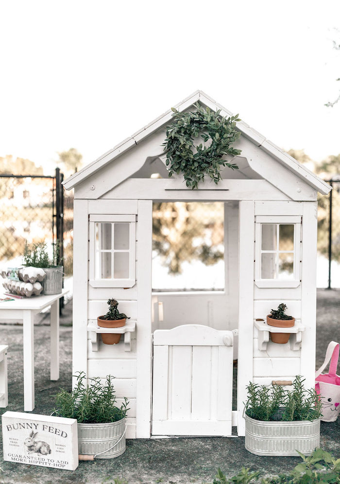 Garden Shed + Play Set from a Pastel Bunny Baptism Party on Kara's Party Ideas | KarasPartyIdeas.com (43)
