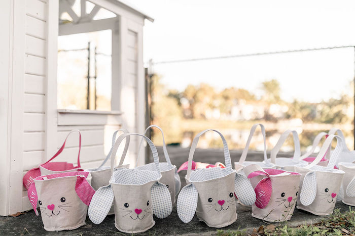Bunny Easter Baskets from a Pastel Bunny Baptism Party on Kara's Party Ideas | KarasPartyIdeas.com (42)