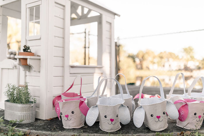 Bunny Easter Baskets from a Pastel Bunny Baptism Party on Kara's Party Ideas | KarasPartyIdeas.com (41)