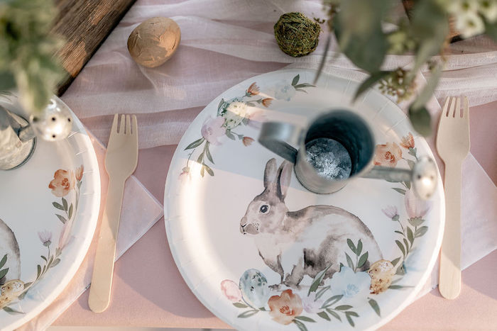 Floral Bunny Plate from a Pastel Bunny Baptism Party on Kara's Party Ideas | KarasPartyIdeas.com (40)