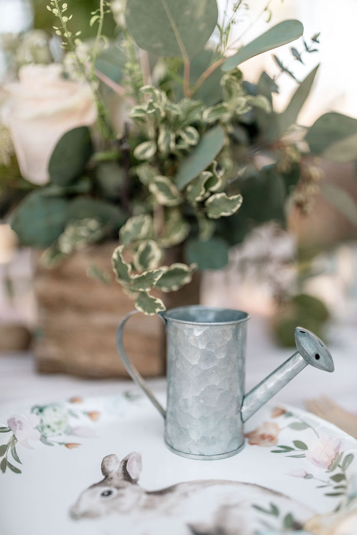 Mini Watering Can from a Pastel Bunny Baptism Party on Kara's Party Ideas | KarasPartyIdeas.com (37)