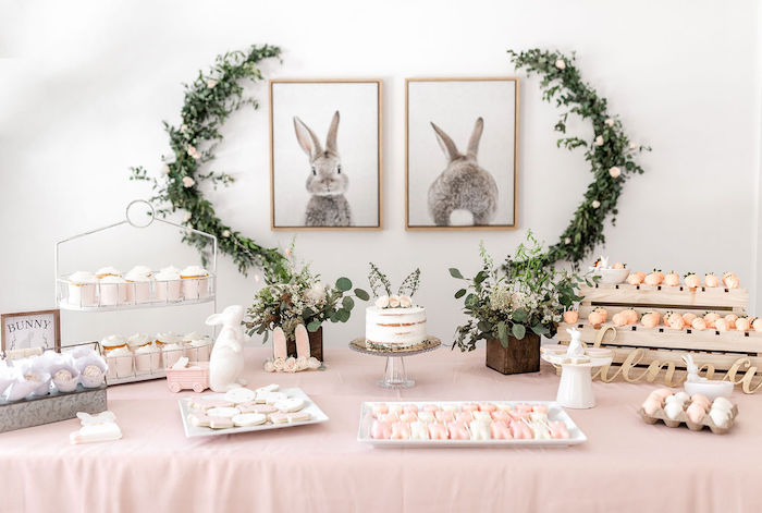 Bunny Themed Sweet Table from a Pastel Bunny Baptism Party on Kara's Party Ideas | KarasPartyIdeas.com (33)