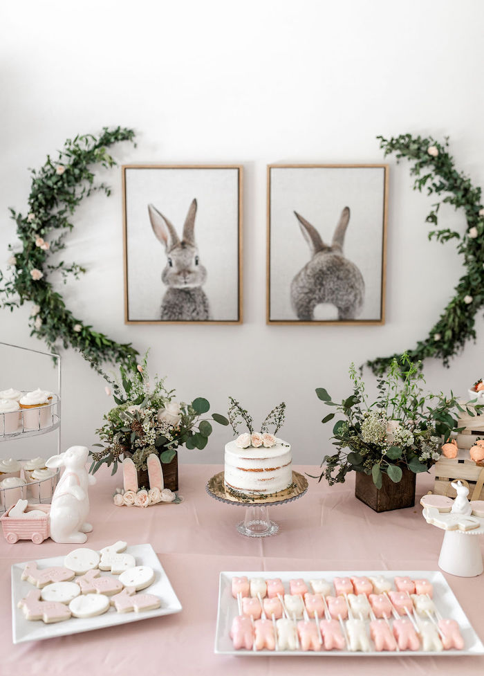 Bunny Themed Sweet Table from a Pastel Bunny Baptism Party on Kara's Party Ideas | KarasPartyIdeas.com (32)