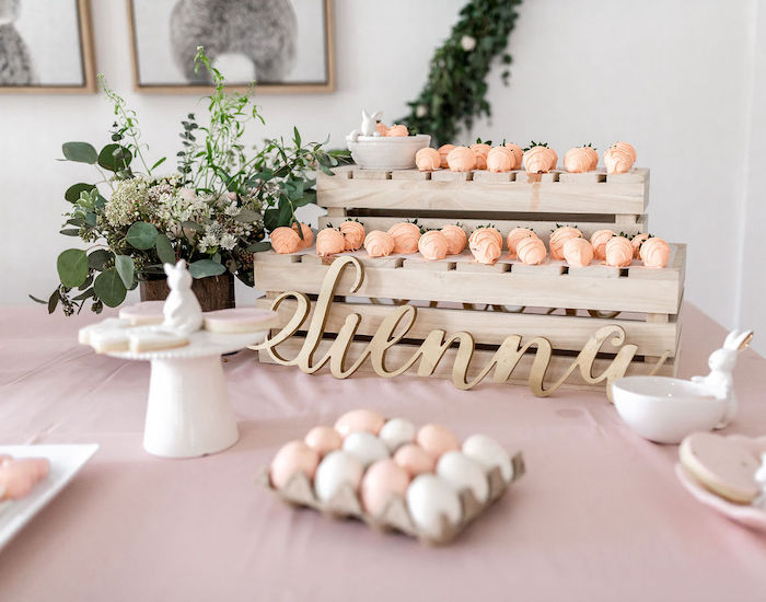Easter Sweet Table from a Pastel Bunny Baptism Party on Kara's Party Ideas | KarasPartyIdeas.com (31)