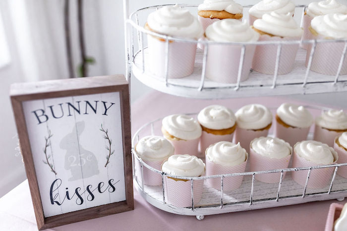Bunny Kisses & Cupcakes from a Pastel Bunny Baptism Party on Kara's Party Ideas | KarasPartyIdeas.com (25)