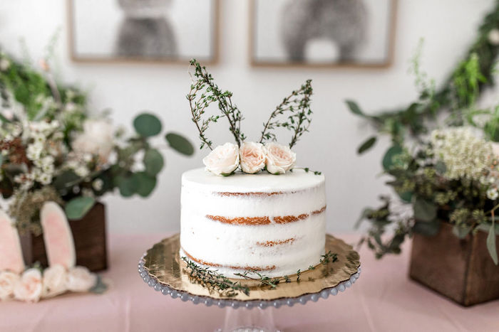Semi-naked Floral Bunny Cake from a Pastel Bunny Baptism Party on Kara's Party Ideas | KarasPartyIdeas.com (22)