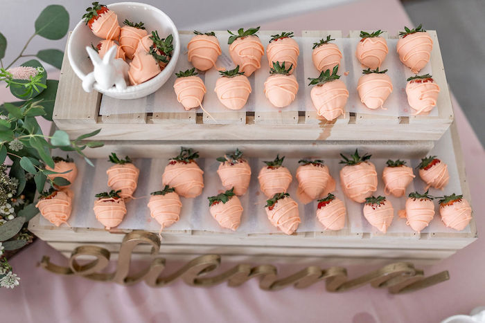 Carrot-inspired Strawberries from a Pastel Bunny Baptism Party on Kara's Party Ideas | KarasPartyIdeas.com (19)