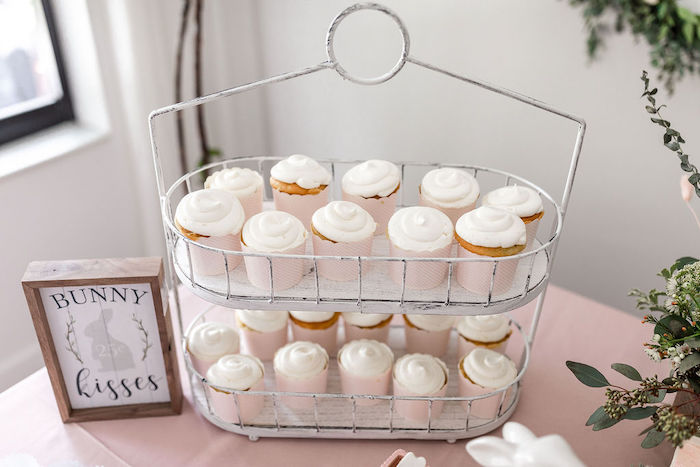 White Cupcakes from a Pastel Bunny Baptism Party on Kara's Party Ideas | KarasPartyIdeas.com (18)