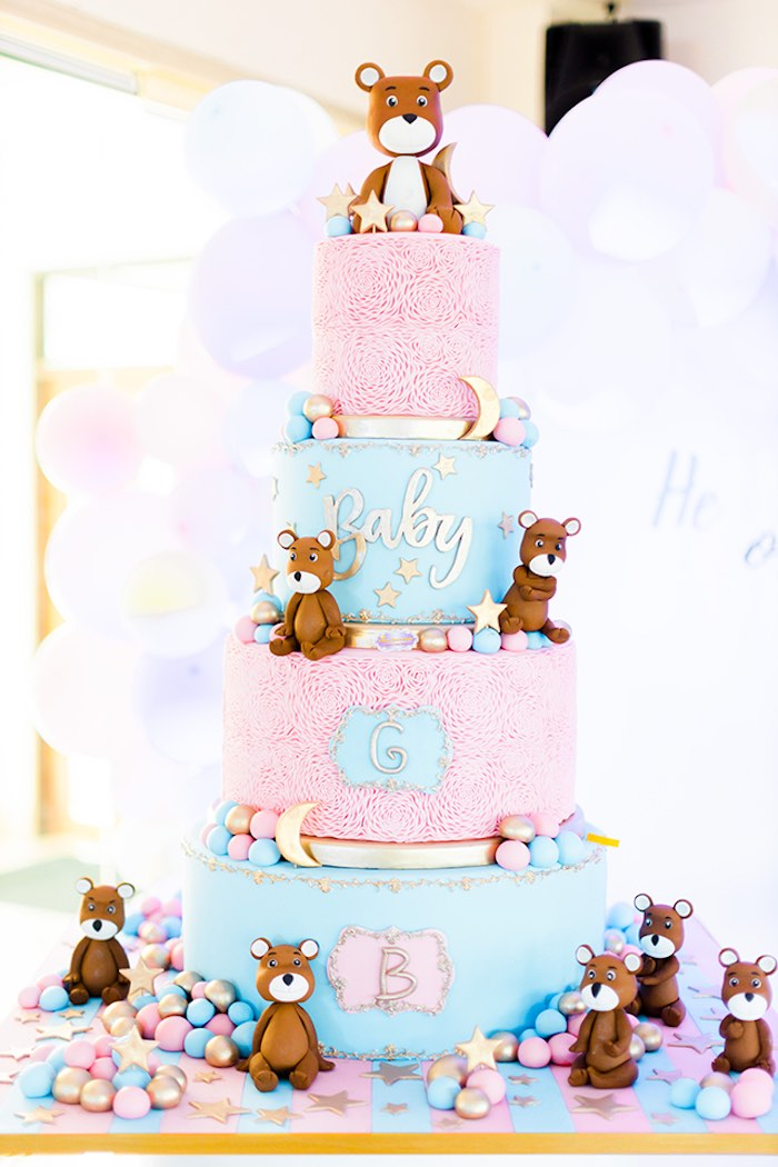 Pink + Blue Bear Cake from a Pastel Donut Baby Shower + Gender Reveal on Kara's Party Ideas | KarasPartyIdeas.com (22)