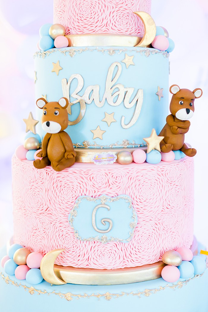 Pink + Blue Bear Cake from a Pastel Donut Baby Shower + Gender Reveal on Kara's Party Ideas | KarasPartyIdeas.com (21)