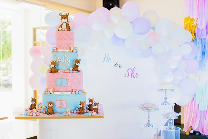 Pink + Blue Bear Cake from a Pastel Donut Baby Shower + Gender Reveal on Kara's Party Ideas | KarasPartyIdeas.com (20)