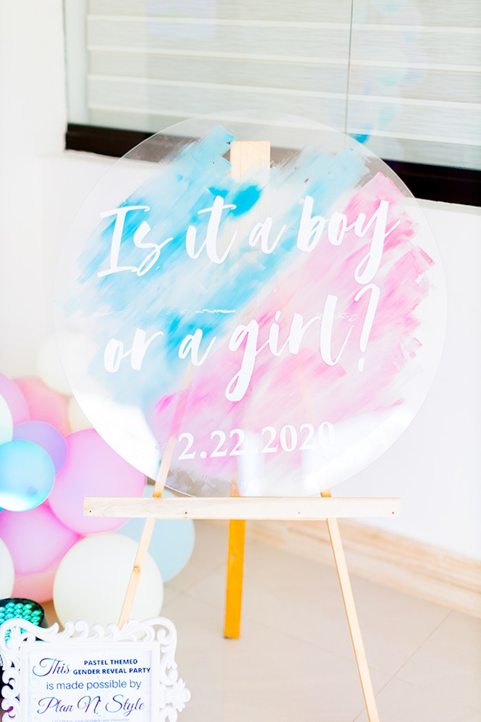 Acrylic Pink & Blue Watercolor Sign from a Pastel Donut Baby Shower + Gender Reveal on Kara's Party Ideas | KarasPartyIdeas.com (18)