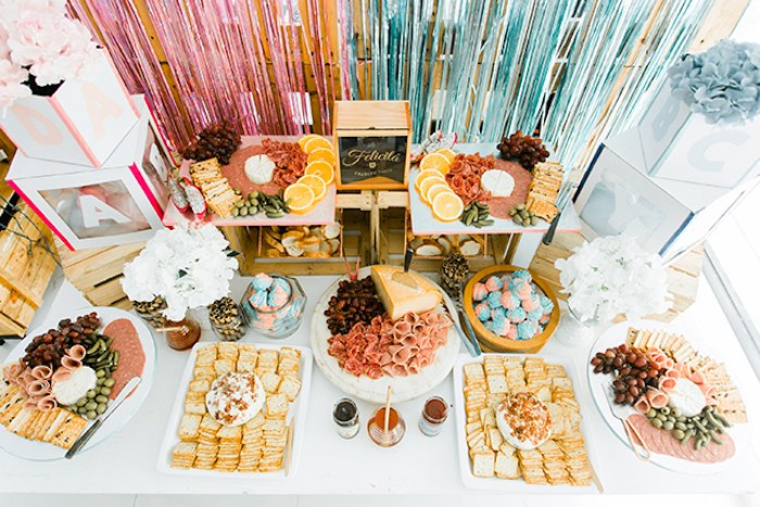Food Table from a Pastel Donut Baby Shower + Gender Reveal on Kara's Party Ideas | KarasPartyIdeas.com (16)