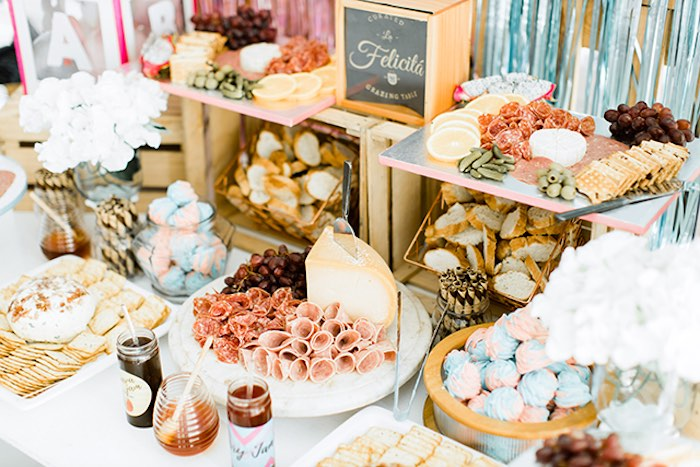 Food Table from a Pastel Donut Baby Shower + Gender Reveal on Kara's Party Ideas | KarasPartyIdeas.com (15)