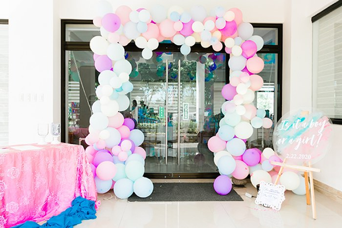 Pastel Balloon Arch from a Pastel Donut Baby Shower + Gender Reveal on Kara's Party Ideas | KarasPartyIdeas.com (14)