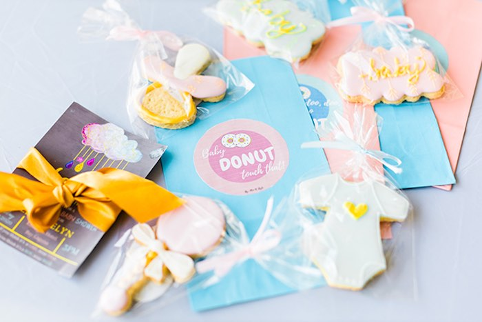 Cookies + Snack Bags from a Pastel Donut Baby Shower + Gender Reveal on Kara's Party Ideas | KarasPartyIdeas.com (30)