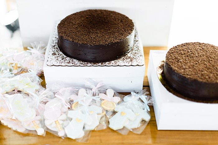 Chocolate Cakes from a Pastel Donut Baby Shower + Gender Reveal on Kara's Party Ideas | KarasPartyIdeas.com (28)