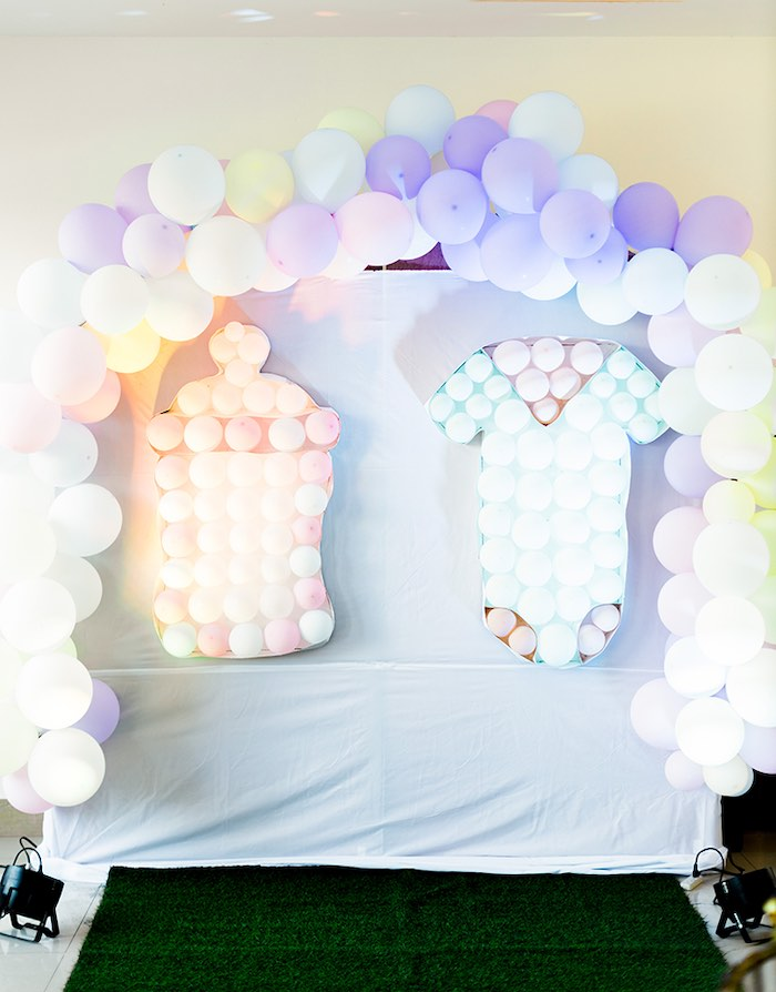 Balloon Wall featuring a Onesie & Bottle from a Pastel Donut Baby Shower + Gender Reveal on Kara's Party Ideas   KarasPartyIdeas.com (25)