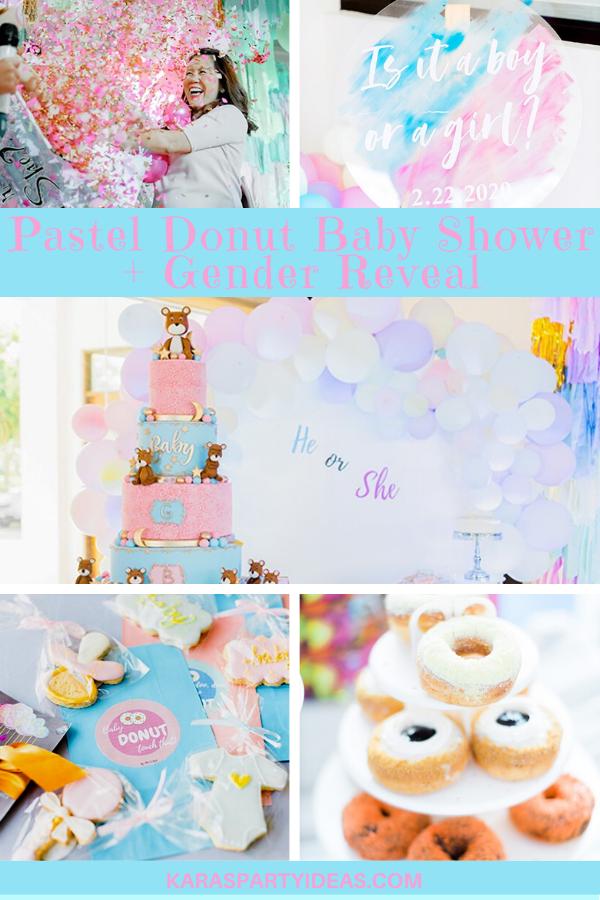 Pastel Donut Baby Shower + Gender Reveal via Kara's Party Ideas - KarasPartyIdeas.com