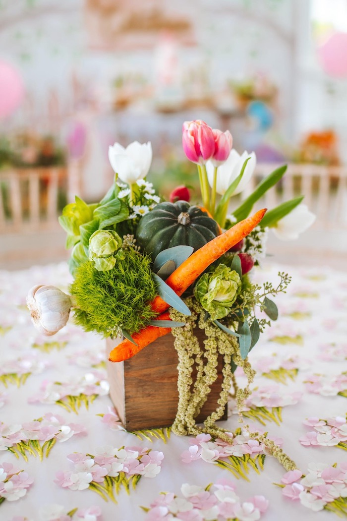 Garden Bloom Box Centerpiece from a Peter Rabbit Spring Baby Shower on Kara's Party Ideas | KarasPartyIdeas.com (13)