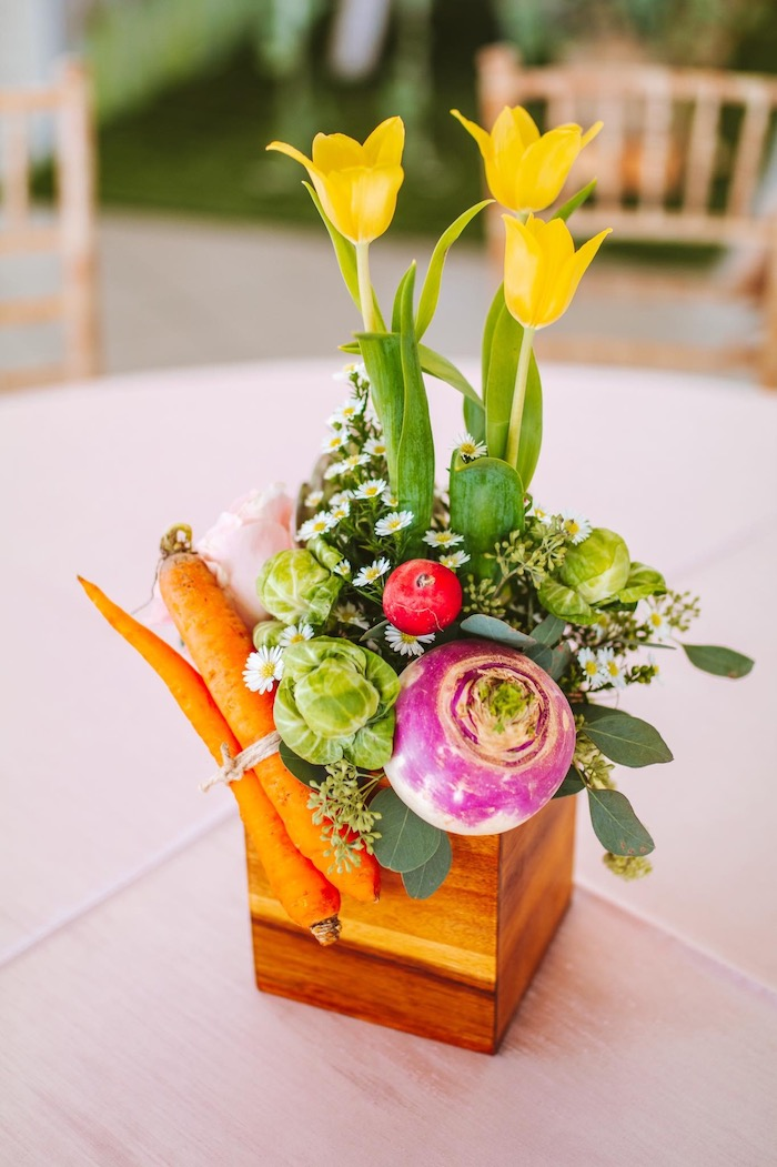 Garden Bloom Box Centerpiece from a Peter Rabbit Spring Baby Shower on Kara's Party Ideas | KarasPartyIdeas.com (12)