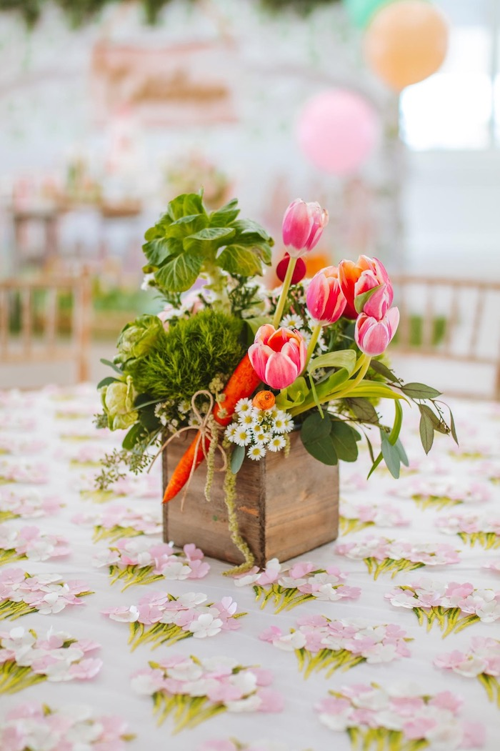 Garden Bloom Box Centerpiece from a Peter Rabbit Spring Baby Shower on Kara's Party Ideas | KarasPartyIdeas.com (10)