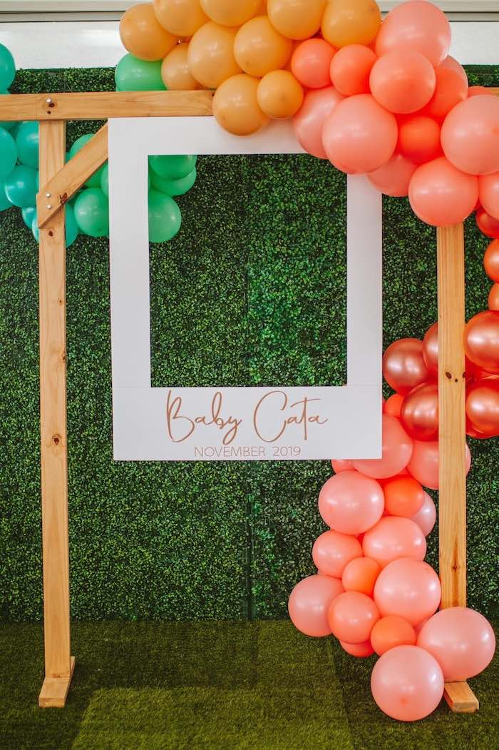 Hanging Photo Frame adorned with Balloons from a Peter Rabbit Spring Baby Shower on Kara's Party Ideas | KarasPartyIdeas.com (9)