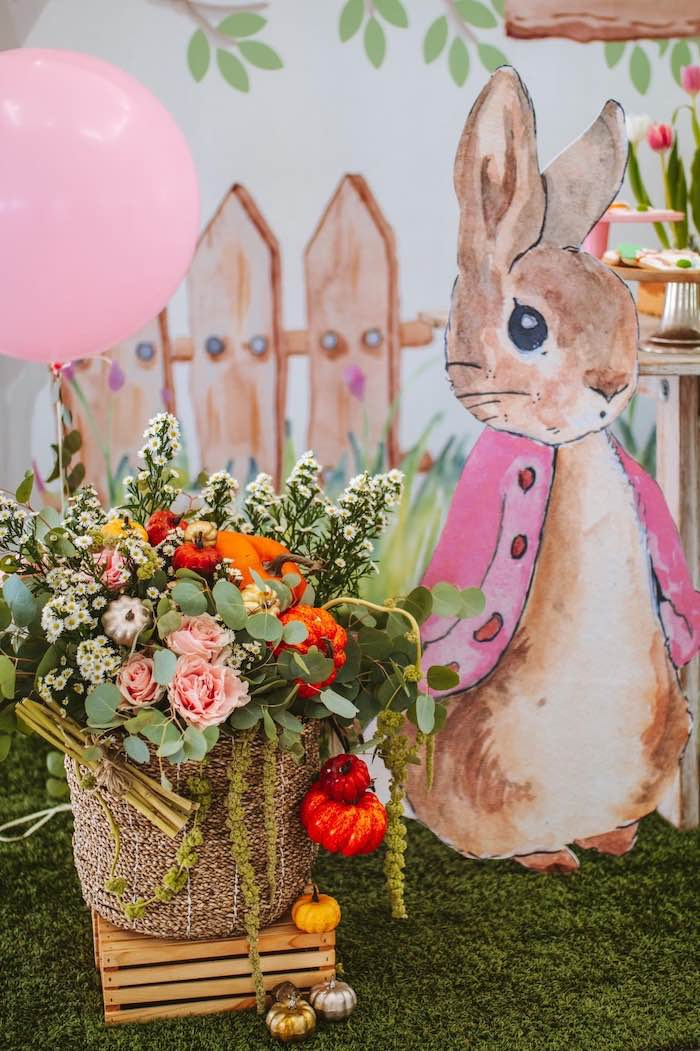 Flopsy Rabbit Standee + Blooms from a Peter Rabbit Spring Baby Shower on Kara's Party Ideas | KarasPartyIdeas.com (8)
