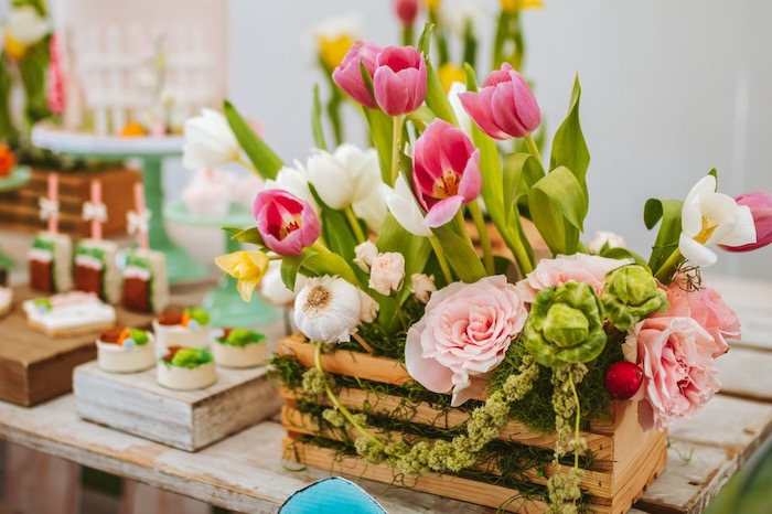 Spring Bloom & Tulip Floral Box from a Peter Rabbit Spring Baby Shower on Kara's Party Ideas | KarasPartyIdeas.com (7)