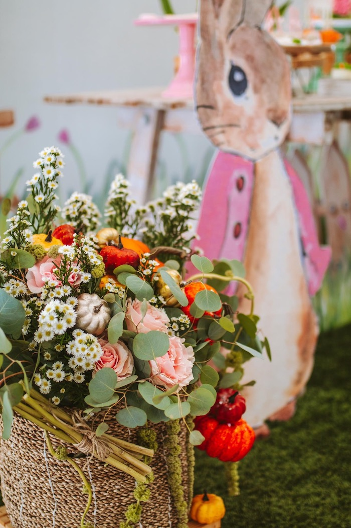 Gorgeous Garden-inspired Floral Arrangement from a Peter Rabbit Spring Baby Shower on Kara's Party Ideas | KarasPartyIdeas.com (19)