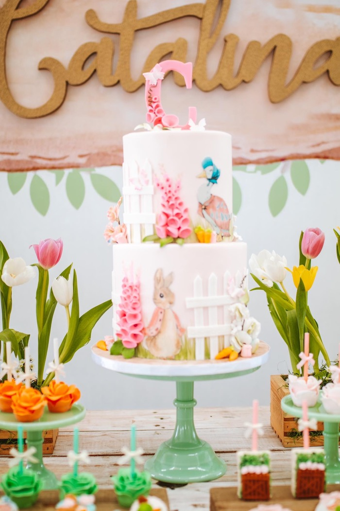 Peter Rabbit Themed Cake from a Peter Rabbit Spring Baby Shower on Kara's Party Ideas | KarasPartyIdeas.com (18)