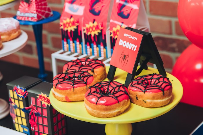 Spiderman Donuts from a Spiderman Birthday Party on Kara's Party Ideas | KarasPartyIdeas.com (15)