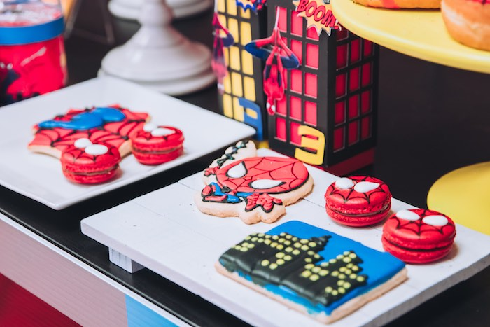 Spiderman-inspired Cookies + Macarons from a Spiderman Birthday Party on Kara's Party Ideas | KarasPartyIdeas.com (14)