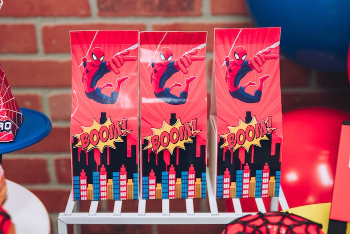 Spiderman Snack Bag Box from a Spiderman Birthday Party on Kara's Party Ideas | KarasPartyIdeas.com (12)