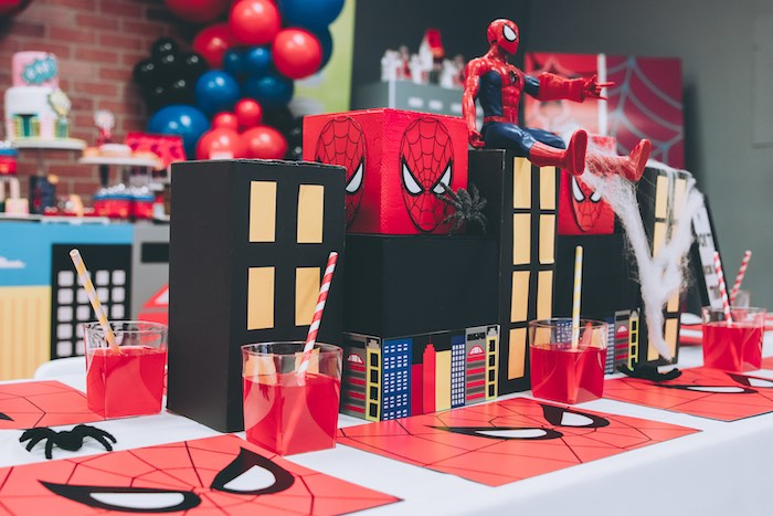Spiderman Themed Kid Dining Table from a Spiderman Birthday Party on Kara's Party Ideas | KarasPartyIdeas.com (7)