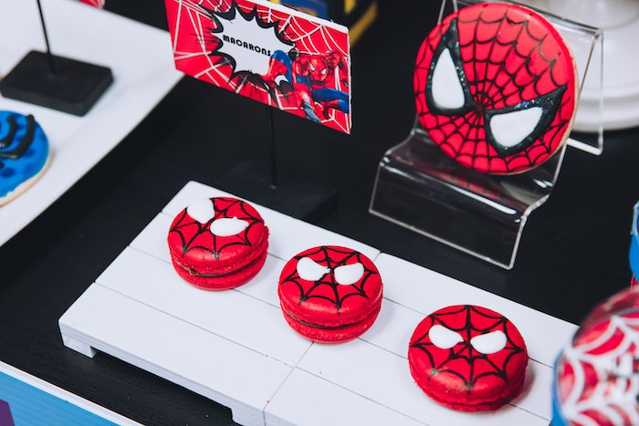 Spiderman Macarons from a Spiderman Birthday Party on Kara's Party Ideas | KarasPartyIdeas.com (24)