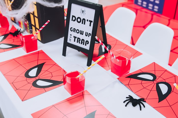 Spiderman Table Settings + Place Mats from a Spiderman Birthday Party on Kara's Party Ideas | KarasPartyIdeas.com (21)
