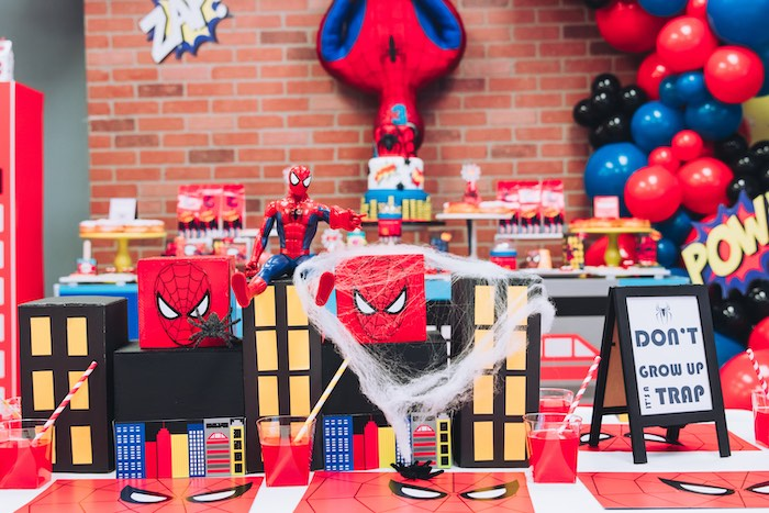 Spiderman Guest Table from a Spiderman Birthday Party on Kara's Party Ideas | KarasPartyIdeas.com (19)