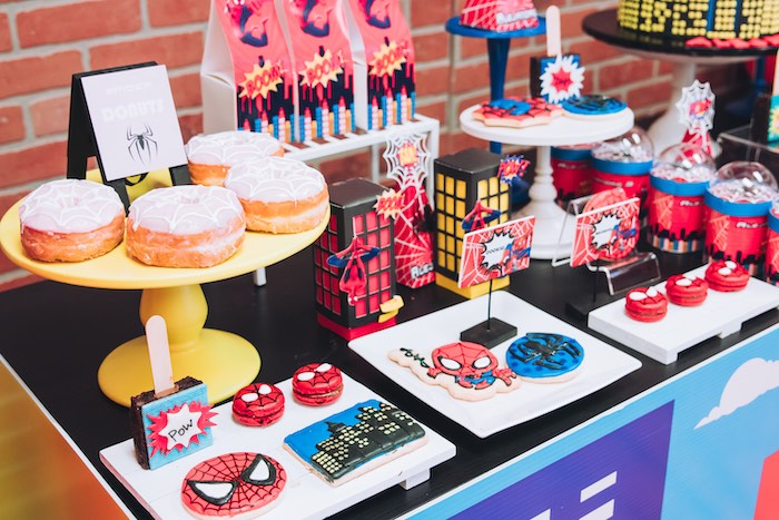 Spiderman Sweets + Dessert Table from a Spiderman Birthday Party on Kara's Party Ideas | KarasPartyIdeas.com (17)