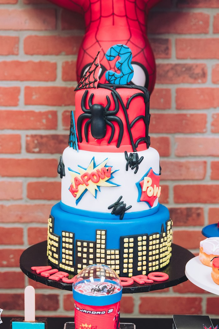 Spiderman Cake from a Spiderman Birthday Party on Kara's Party Ideas | KarasPartyIdeas.com (16)