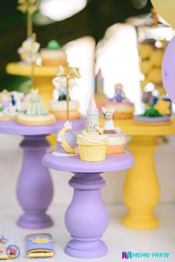 Tangled Themed Sweets atop Purple & Yellow Dessert Pedestals from a Tangled Birthday Party on Kara's Party Ideas | KarasPartyIdeas.com (11)