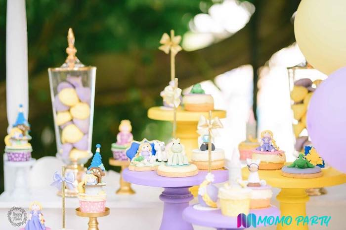 Tangled-inspired Sweets/Dessert Pedestals from a Tangled Birthday Party on Kara's Party Ideas | KarasPartyIdeas.com (9)
