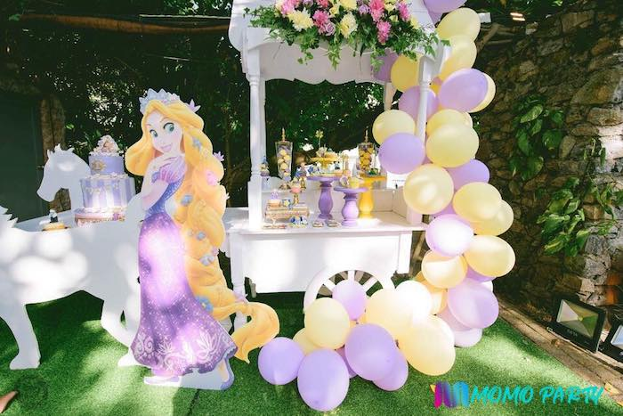 Tangled Themed Dessert Cart from a Tangled Birthday Party on Kara's Party Ideas | KarasPartyIdeas.com (27)
