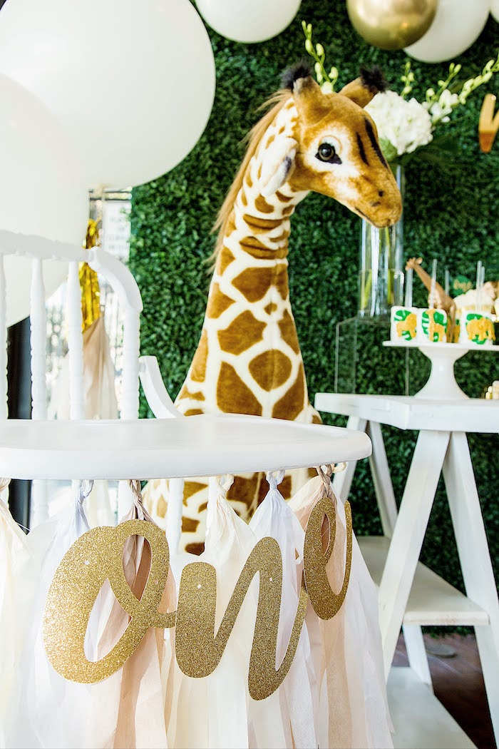 Vintage White High Chair with Gold Glitter ONE Banner from a Wild One Birthday Party on Kara's Party Ideas | KarasPartyIdeas.com (15)