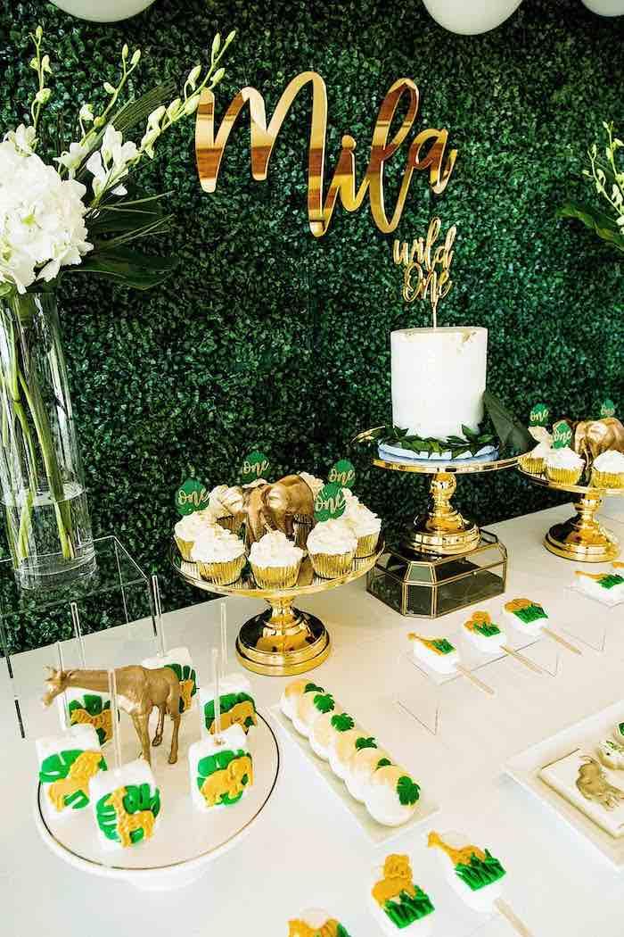 Jungle Safari Dessert Table from a Wild One Birthday Party on Kara's Party Ideas | KarasPartyIdeas.com (13)