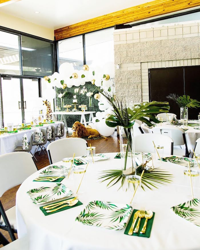 Jungle-inspired Guest Table from a Wild One Birthday Party on Kara's Party Ideas | KarasPartyIdeas.com (6)