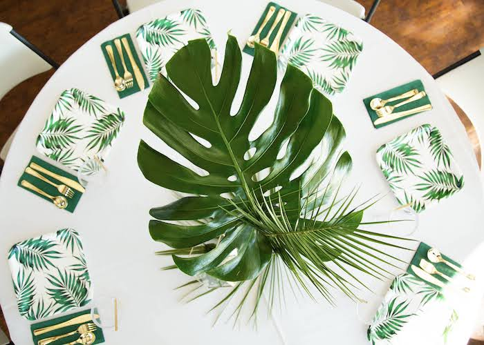 Jungle Themed Guest Table + Table Settings from a Wild One Birthday Party on Kara's Party Ideas | KarasPartyIdeas.com (2)