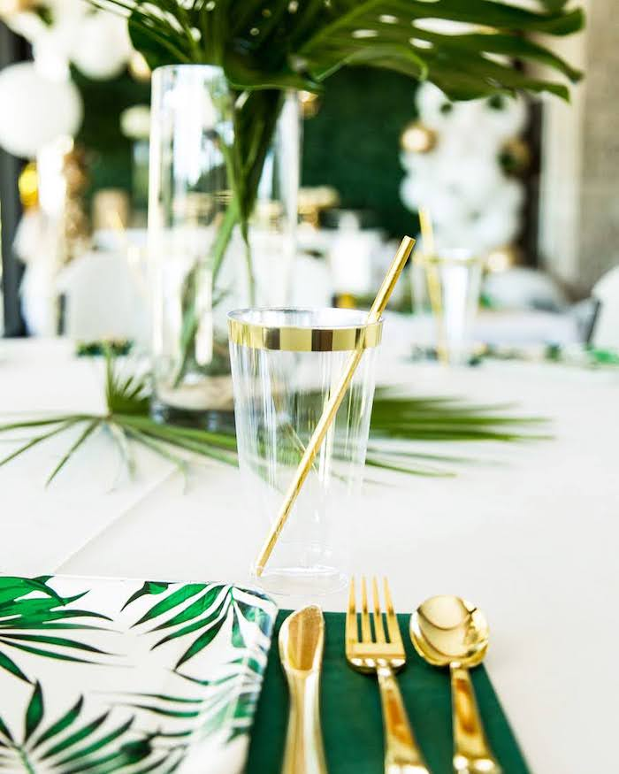 Green + Gold Jungle-inspired Table Setting from a Wild One Birthday Party on Kara's Party Ideas | KarasPartyIdeas.com (25)